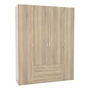 Wardrobe - 4 Doors 3 Drawers in Oak