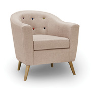 Hudson Chair With Buttons Beige (Contemporary)